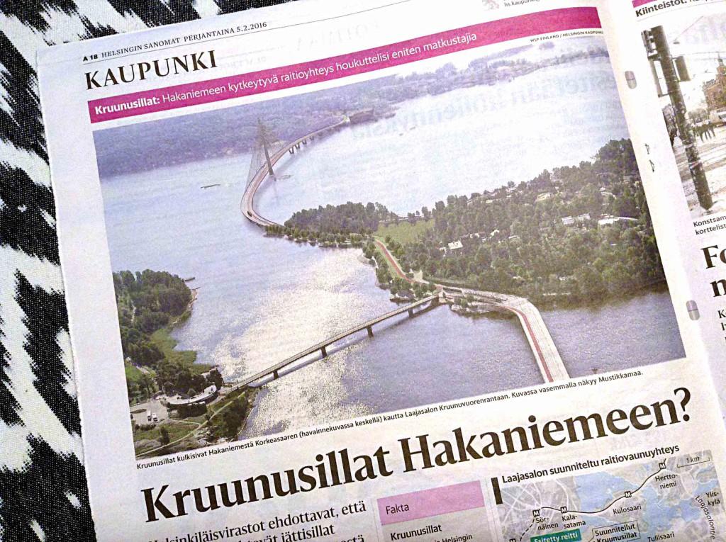 Kuvassa lehtileike 5.2.2016 Helsingin Sanomien sivusta.