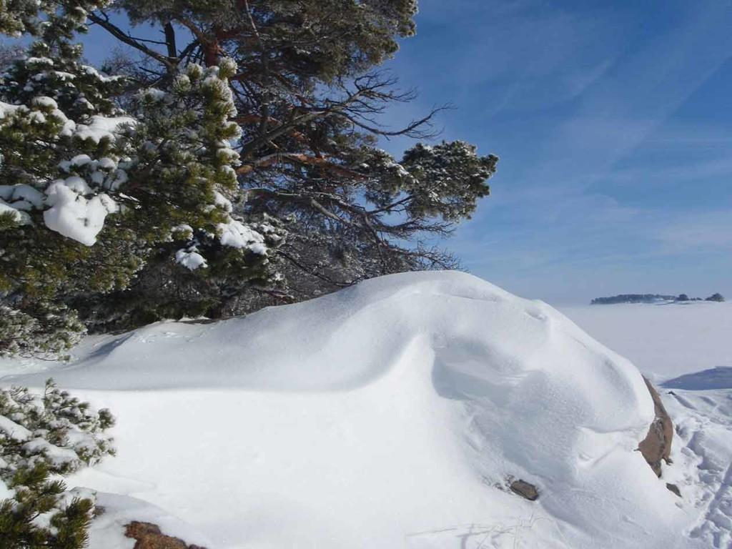 Maaliskuussa Saaristomeren rantakalliot on kuorrutettu puhtaan valkoisella lumella.