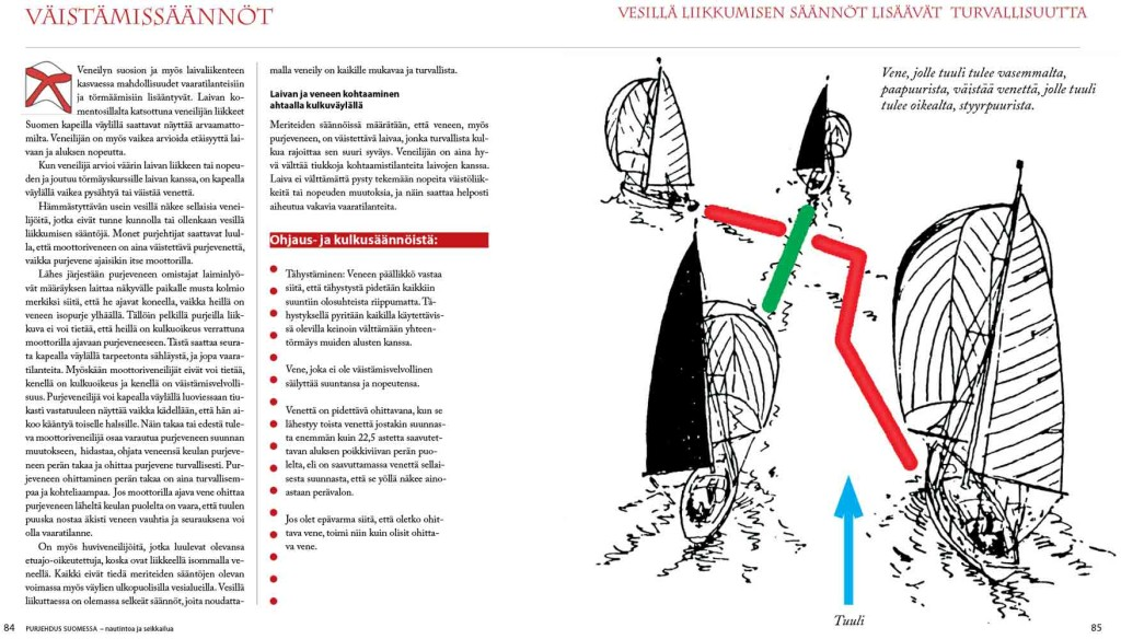 Kirjassa on myös purjeveneiden ja moottoriveneiden väistämissäännöt selkein kuvin.