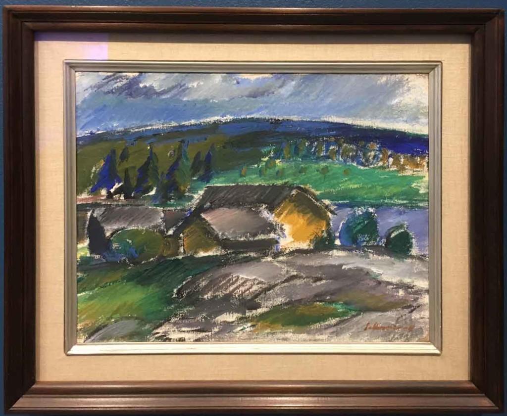 Tyko Sallinen: Syysmaisema. Maalauksessa näkyy hieman puhtaampi väripaletti. Kuva: Villa Gyllenberg.