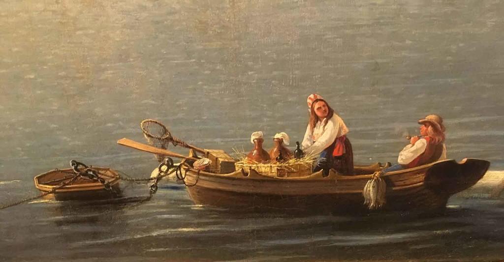 """Maalauksen etualalla kelluu """"poijuun"""" kiinnittyneenä soutuvene, jossa on selvästi laivoihin myyntiin tarkoitettua tavaraa. Korissa on heiniin laitettuja saviruukkuja ja pulloja. Perätuhdolla istuvan miehen vieressä, veneen laidan yli, roikkuu kaloja. Mielenkiintoista maalauksessa on myös se, että monet yksityiskohdat näyttävät poijun, köysien ja sakkeleiden rakenteet."""